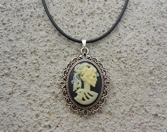 SALE - Stunning Skeleton Lady Cameo Pendant Necklace--- Great Quality--- Unique Conversation Piece