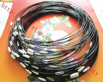 Wholesale 100pcs 18 inch 1mm black cover stainless wire choker necklace with lscrew clasps