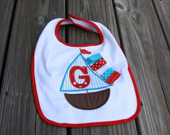 Personalized Sailboat Letter Bib OR burp cloth