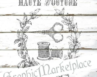 Haute Couture Instant Download Transfer Burlap digital collage sheet graphic printable Sewing No. 173