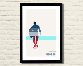 Captain America Superhero Poster 11 X 17 Art Print, Pantone, Minimalist, Home Decor
