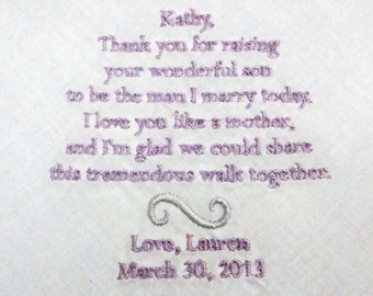 Personalized Mother of the Groom Handkerchief, Thank You For Raising A Wonderful Man Wedding Day Keepsake - Thread Born Memories