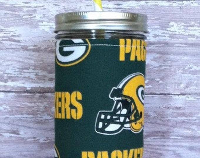 Green Bay Packers Insulated Mason Jar Tumbler 24oz w BPA Free Straw - Travel Mug Great Gift