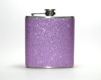 Lavender Sparkly Glitter 6 oz Size Stainless Steel Liquor Hip Flask Flasks Weddings Bridesmaids