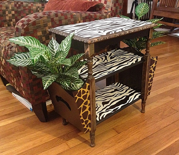 Zebra print end table refurbished for Css table zebra design