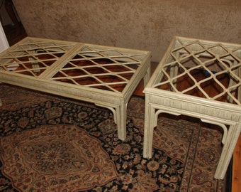 Rattan Glass Top Coffee and End Table