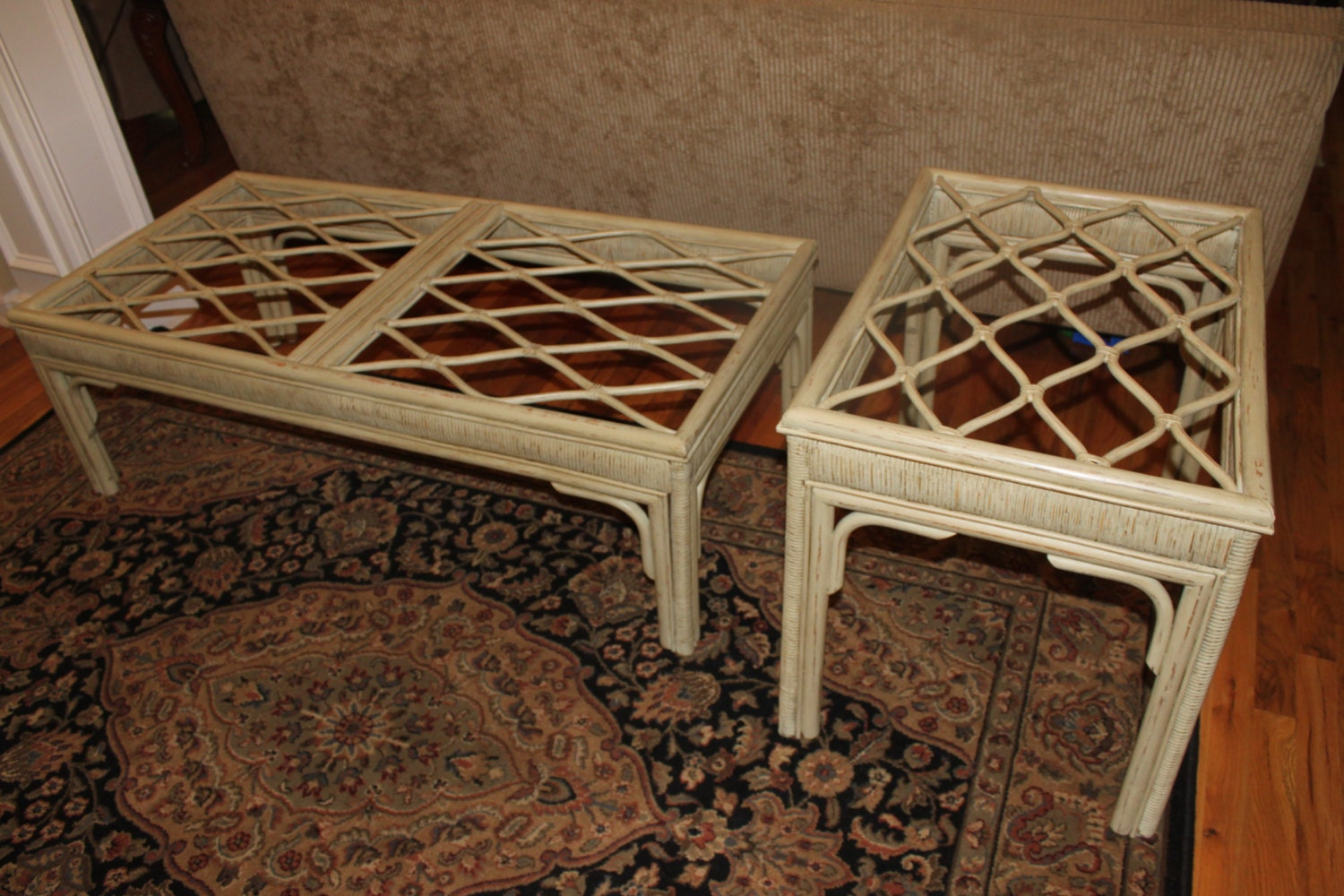 rattan glass top coffee and end table. Black Bedroom Furniture Sets. Home Design Ideas