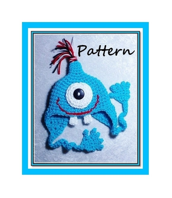 PDF Crochet Pattern for Footie Monster Earflap Hat Newborn to Adult Sizes. Permission to sell finished products. INSTANT DOWNLOAD