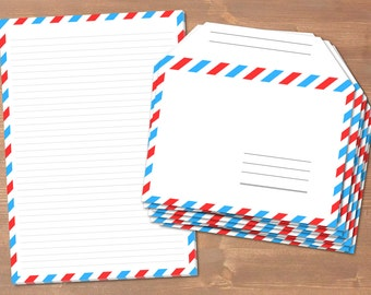 Airmail - handmade stationery // recycling paper // 10 envelopes & notepad