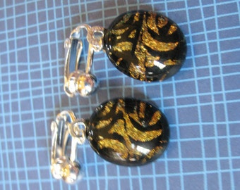 Dichroic Orange Clip On Earings, Dangle Clip Earrings, Ear Clip Jewelry, Gift for Her, Ready to Ship - Chami - 1825 -1