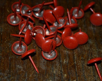Vintage Red Upholstery Tacks Nails Nailheads DIY Project Quantity of 30