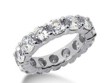 5.00 CT F SI Round Cut Diamond Ring 14K White Gold Eternity Wedding Band Certified
