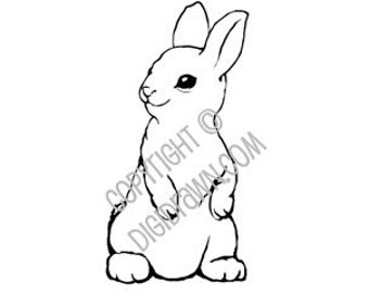 Instant Download Digi - Bunny Rabbit Digital Stamp