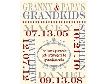 Customizable Grandparents Wall Art. Grandparent Anniversary Gift, Grandma and Grandpa, Grandchildren Names 8 X 10