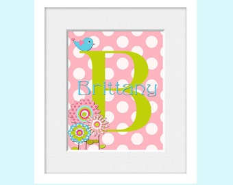 Monogram Initial Art Print , Name Print, Polka Dot Nursery Decor