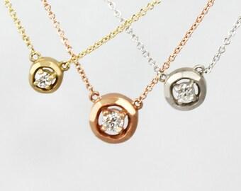 Small Halo Diamond Necklace
