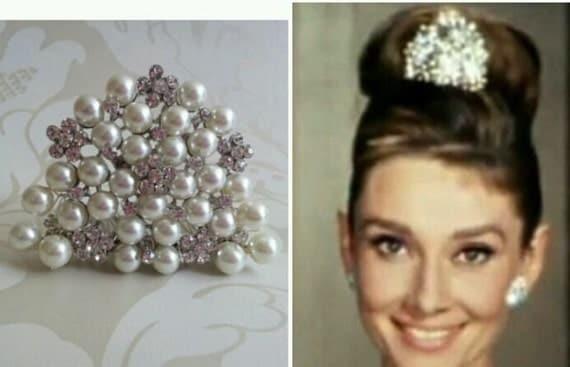 Audrey Hepburn style replica Tiara Diamante Crystal  Ivory Pearl  hair comb Breakfast at Tiffany's