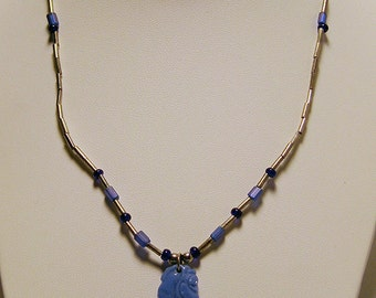 Silver & Blue 16 Inch Necklace with Carved Stone Pendant