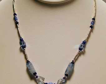 Silver & Blue 16 Inch Necklace with Teardrop Pendant