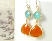 Gold Dangle Earrings : Sienna, Aqua + Orange Gemstone Earrings