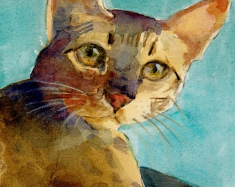 ATC ACEO Abyssinian Cat Savannah Cats Watercolor Miniature Print Art Belinda DelPesco