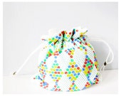Vintage beaded purse mod drawstring bag - geometric yellow green red blue white colorful fun retro