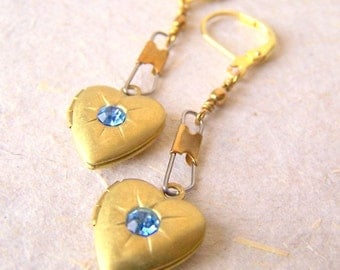 Heart Locket Earrings - vintage brass hearts with rhinestones and swivel snap jewelry - heart earrings - Free Gift Wrap