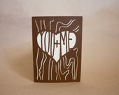 You & Me Heart Carved on Tree Paper Card