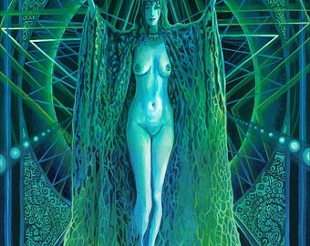 Invocation of the Goddess Lilith 5x7 Blank Greeting Card Fine Art Print Pagan Mythology Gypsy Witch Goddess Art