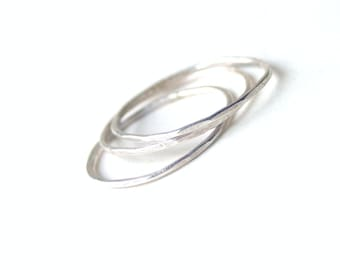 Set of Three Sterling Silver Skinny Rings