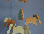 Baby Mobile Elephants - Wood Mobile for a Modern Nursery or Play Room - Modern Blues