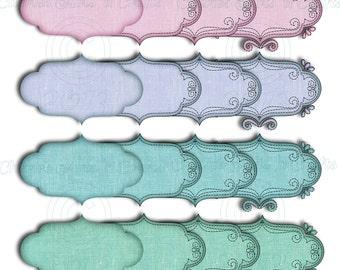 Instant Download, Linen Brackets, Linen Labels, PNG Files, Linen Graphics, Labels Clip Art Set of 16 Images