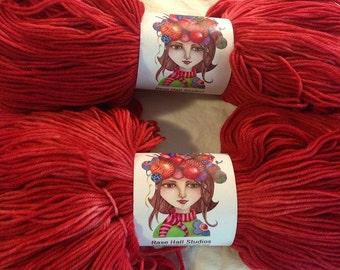 Hand Dyed Superwash Merino Wool Fingering weight Yarn - The Perfect Tonal Red