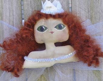Fairy Ornament Primitive Folk Art Bust Doll