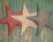 Primitive Stars - Star Ornaments - Americana Stars - Americana Ornaments - Handmade in the U.S.A. - set of 3: red,white,blue