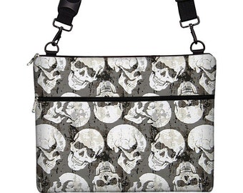 "13 inch Laptop Bag for MacBook Pro 13"" Case Sleeve Cover Mac Laptop Messenger Bag with Strap skulls goth steampunk gray white RTS"