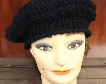 Crochet Beret Hat,  Black Crochet Hat Womens Hat Trendy,  Womens Crochet Hat,  Crochet Beret Hat,  Black Hat,  Andrea Crochet Hat