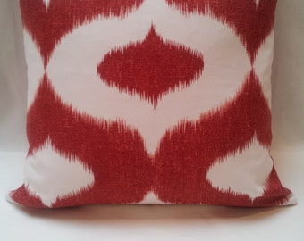 "20"" Duralee Dalesford Red Ikat Linen Cotton Handmade Pillow Cover Decorative"