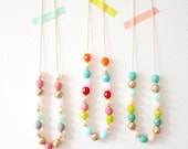 Layering Beaded Strand Necklace, minmalist bead necklace, colorful bead necklace