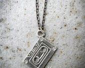 Cassette Tape Necklace - Pewter and Gunmetal - Mixtape
