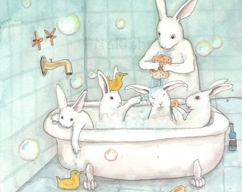 Bath Time - Fine Art Rabbit Print