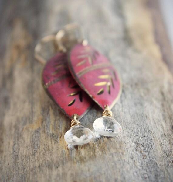 Red earrings, vintage Indian metal statement earrings, tribal boho global, gold filled