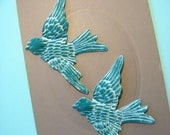 Pair AQUA BIRDS Velvet Millinery Teal Turquoise Blue Pressed Pieces Large  Embossed from Antique Molds MORE AVAlLABLE