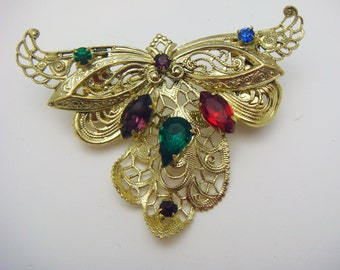 Multicolored Filigree and Rhinestone Large Pendants (2) Gold Tone jc cjrhpdtpt