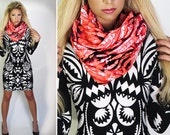 Extra Large new Looper Scarf - Coral Tie Dye