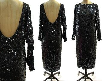 80s GLAM Silk Sequin Dress / Black & Gunmetal
