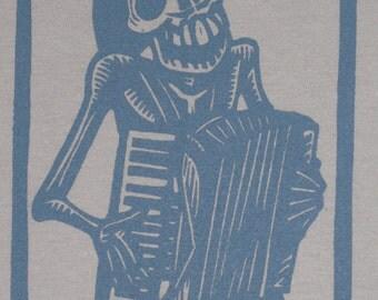 Skeleton Accordionist Calavera Bones Tshirt, Small, or Medium.