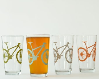 High desert - 4 mountain bike pint glasses, 4 colors
