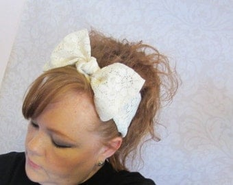 White Lace Hair Bow Bandana Head Scarf -Retro Rockabilly