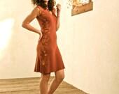 organic cotton dandelion crimson v neck tee dress